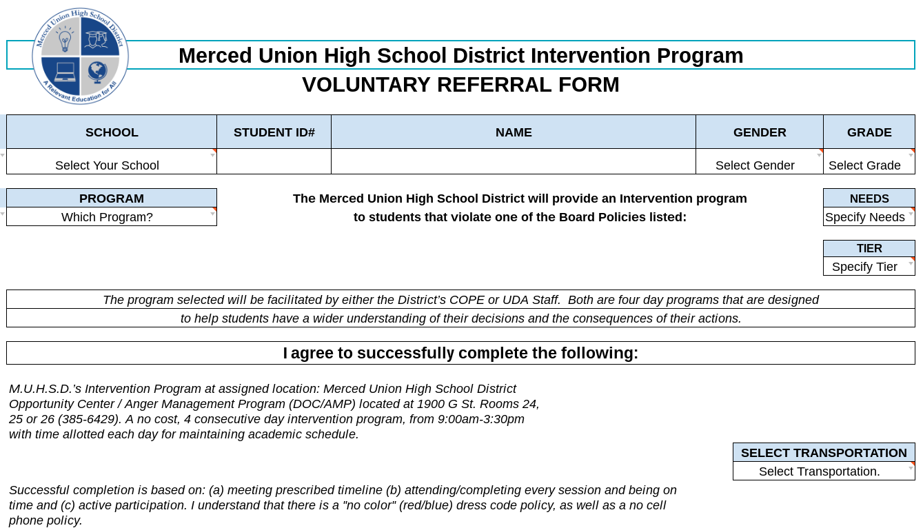 Image of Voluntary Referral Form
