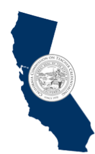 Image: State of CA map with Commission on Teacher Credentialing Logo