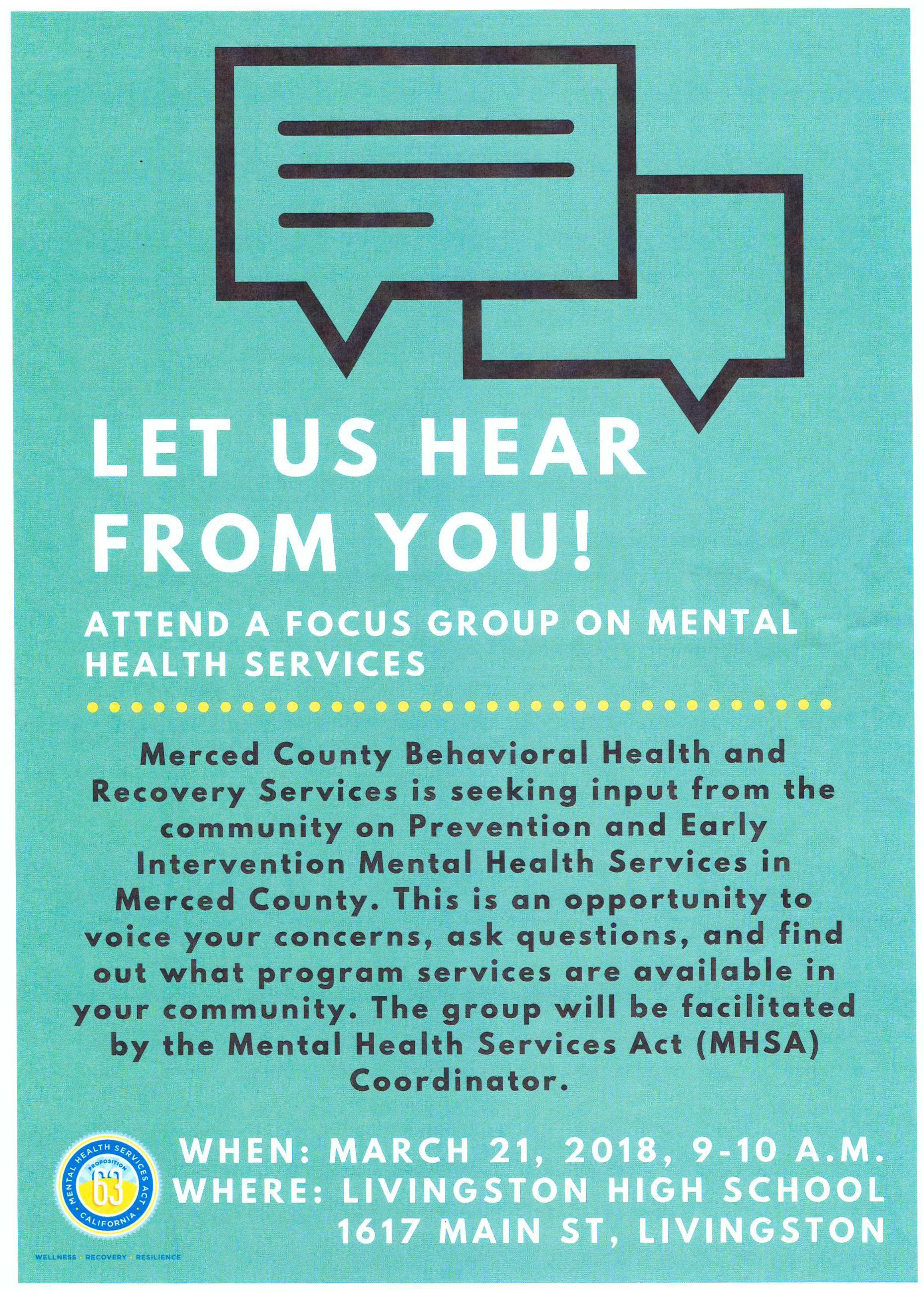 Mental Health Focus Group flyer for March 21