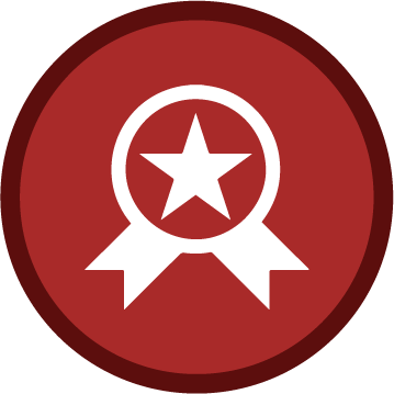 Red and white award icon